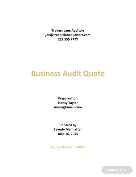 Audit Fee Quotation Template