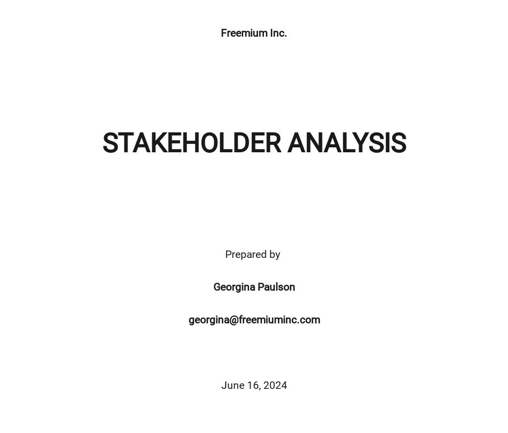 Free Stakeholder Analysis Template