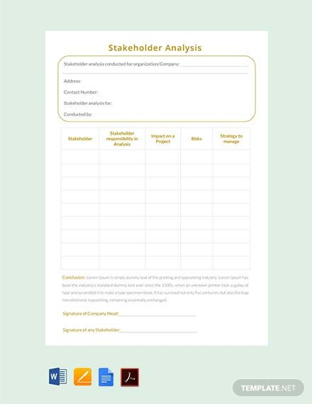 Free Stakeholder Analysis Template