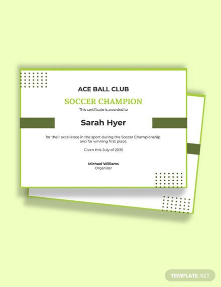 Soccer Championship Certificate template