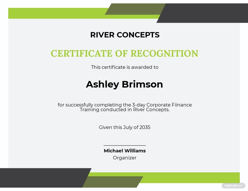 Corporate Finance Certificate Template