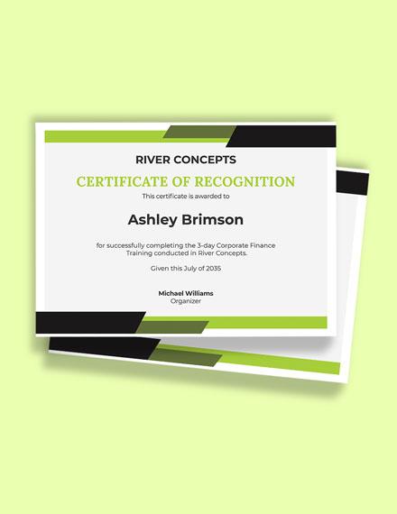Free Corporate Finance Certificate Template