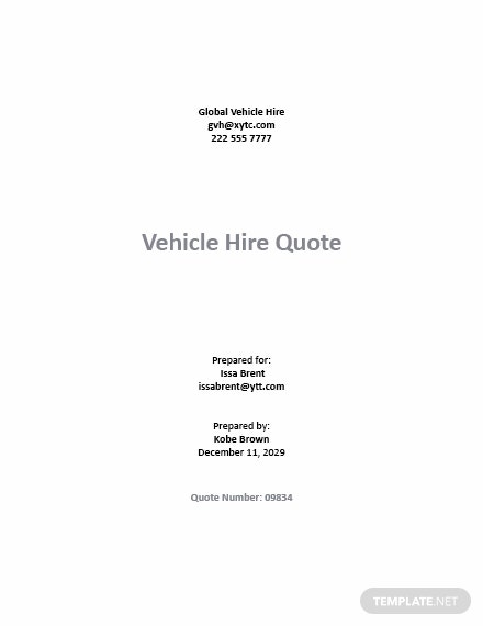 Vehicle Hire Quotation Template