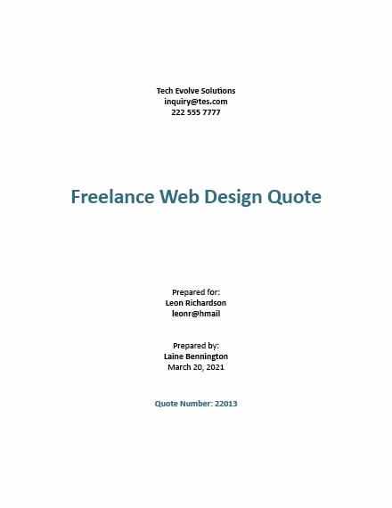 Freelance Web Design Quotation Template