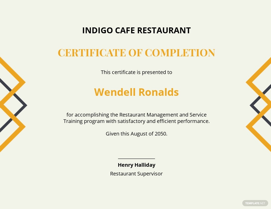 restaurant experience certificate Template