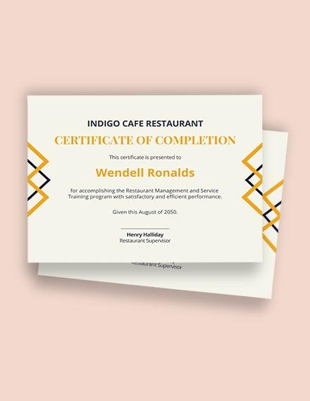 restaurant experience certificate Template
