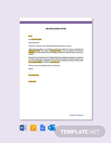 Free IT Job Application Letter Template