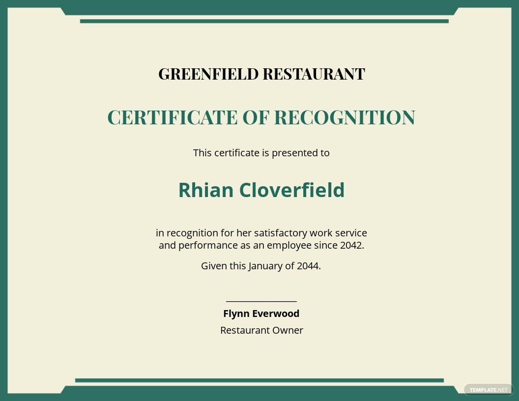 restaurant work experience certificate Template