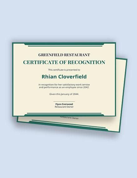 restaurant work experience certificate Template