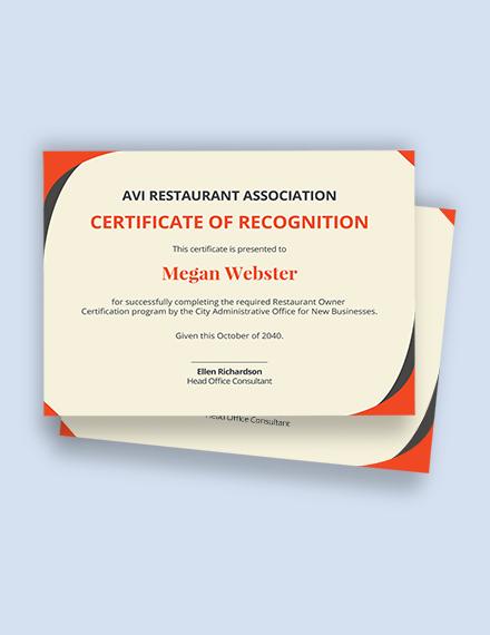 Restaurant Owner Certificate Template