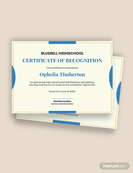Certificate of High School Completion Template