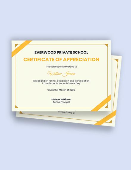 school appreciation certificate Template