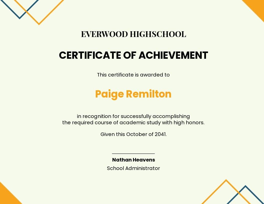 High school achievement certificate Template.jpe