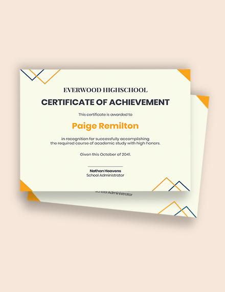 High school achievement certificate Template
