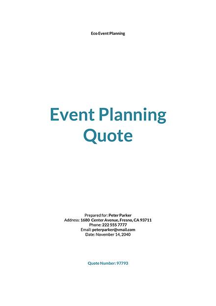 Event Planning Quotation