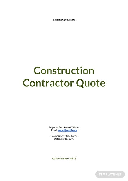 Construction Contractor Quotation