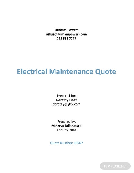 Electrical Work Quotation Template