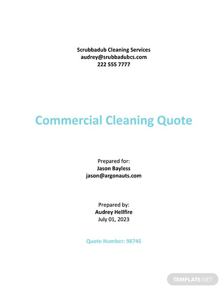 Sample Quotation Template For Cleaning Services