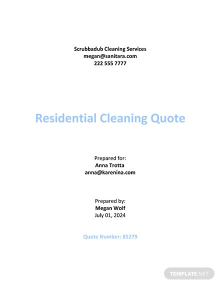 Cleaning Contract Quotation Template