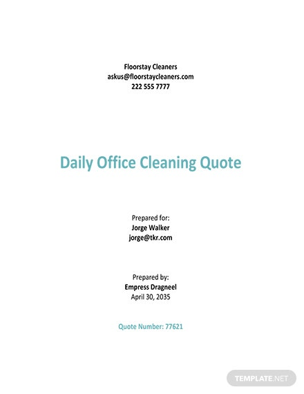 Office Cleaning Quotation Template