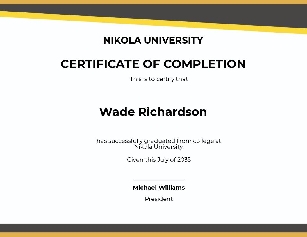 Blank Graduation Certificate Template