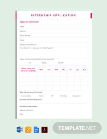 Free Internship Application Template