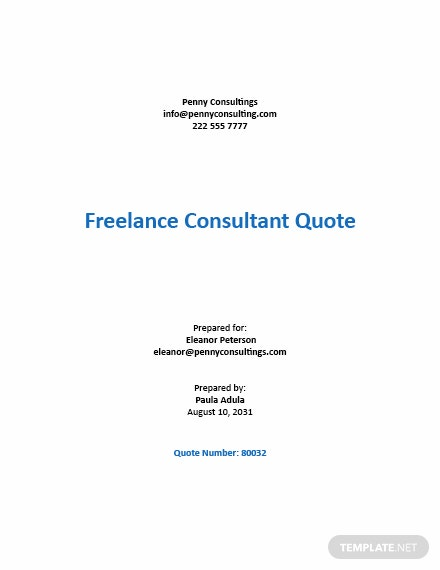 Freelance Consultant Quotation Template