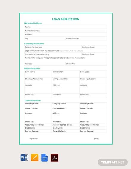 Free Loan Application Template