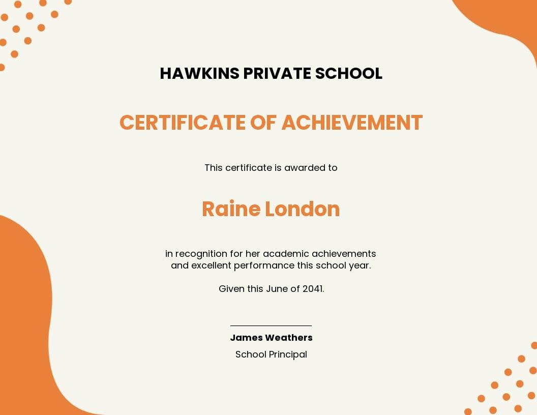 School Certificate of Achievement Template