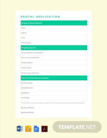 Free Simple Rental Application Template