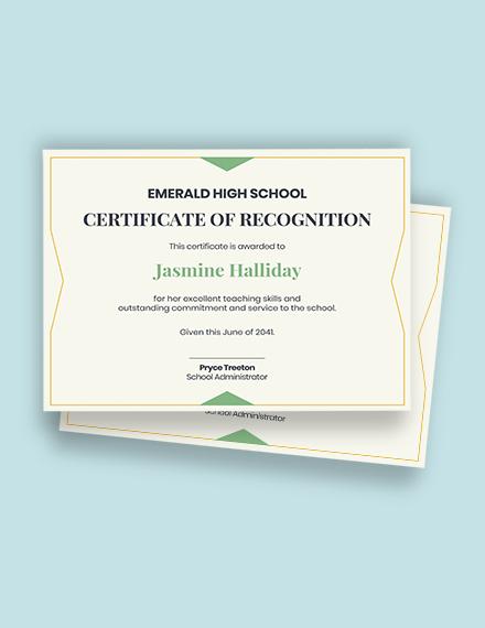 teacher service certificate Template