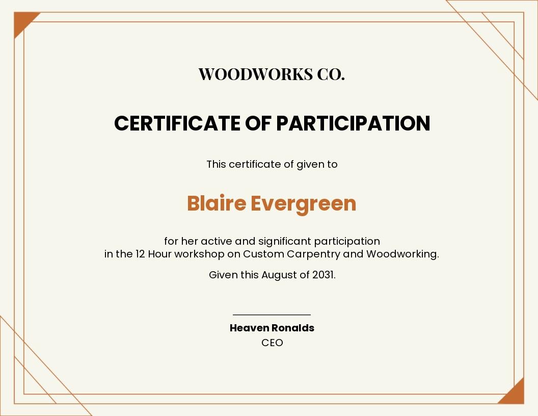Workshop Participation Certificate Template