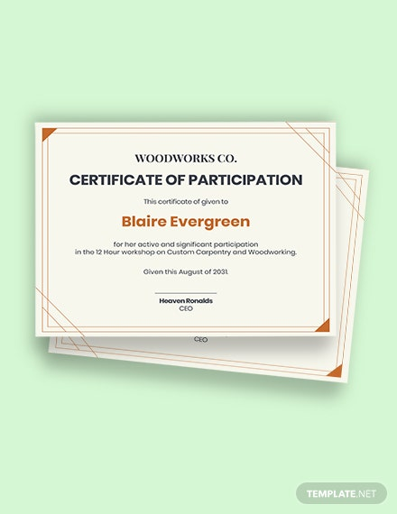 Free Workshop Participation Certificate Template