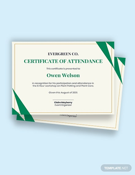 free certificate for attending workshop Template