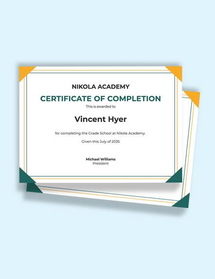 Elementary School Diploma Certificate Template