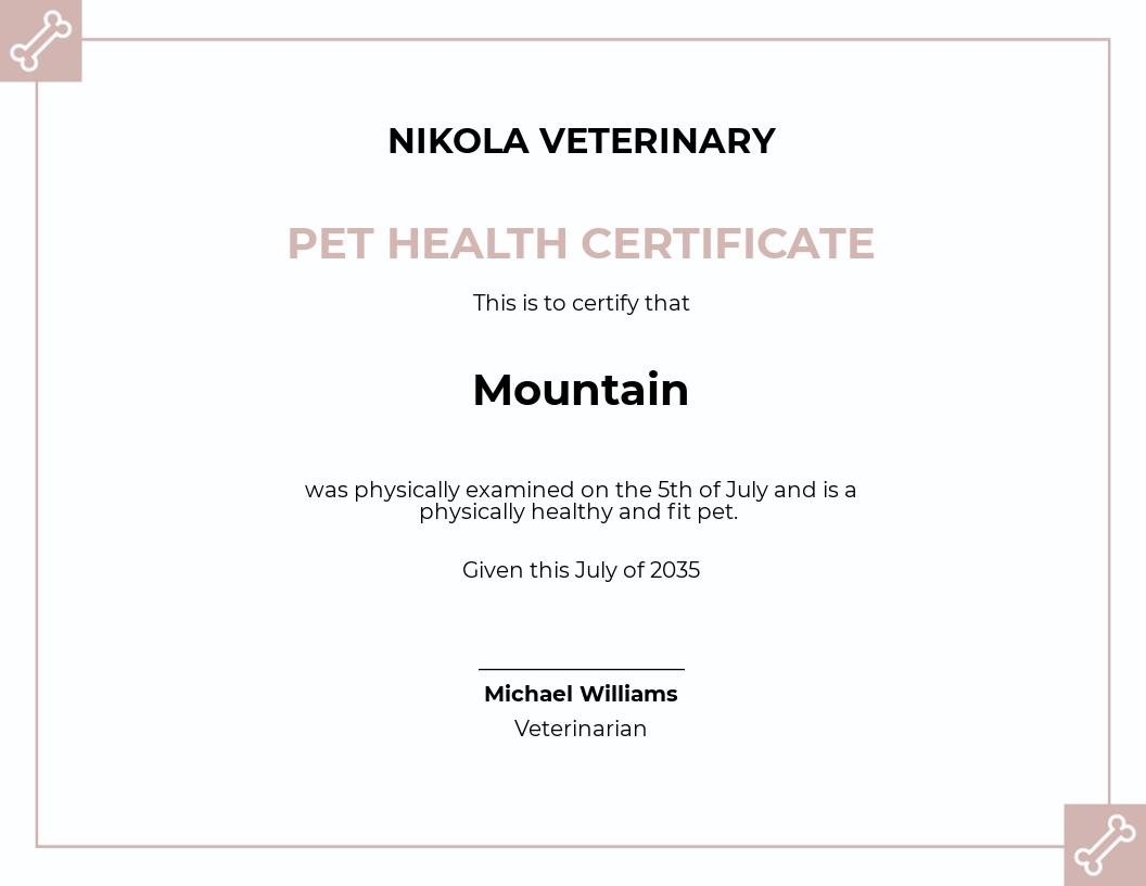 Free Pet Health Certificate Template.jpe
