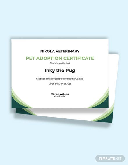 Free Pet Adoption Certificate Template