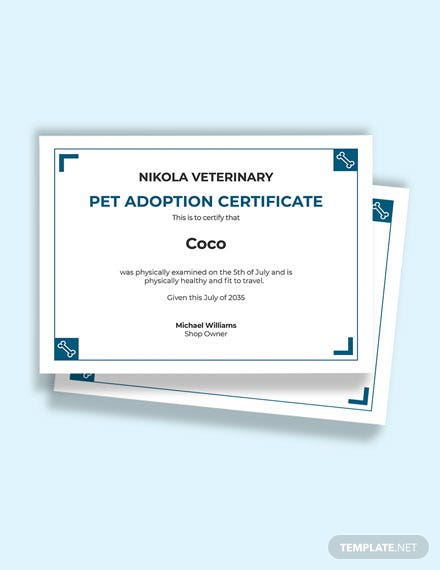 Free Pet Health Certificate for Travel Template