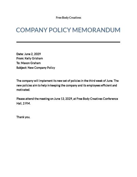 Company Policy Memo Template