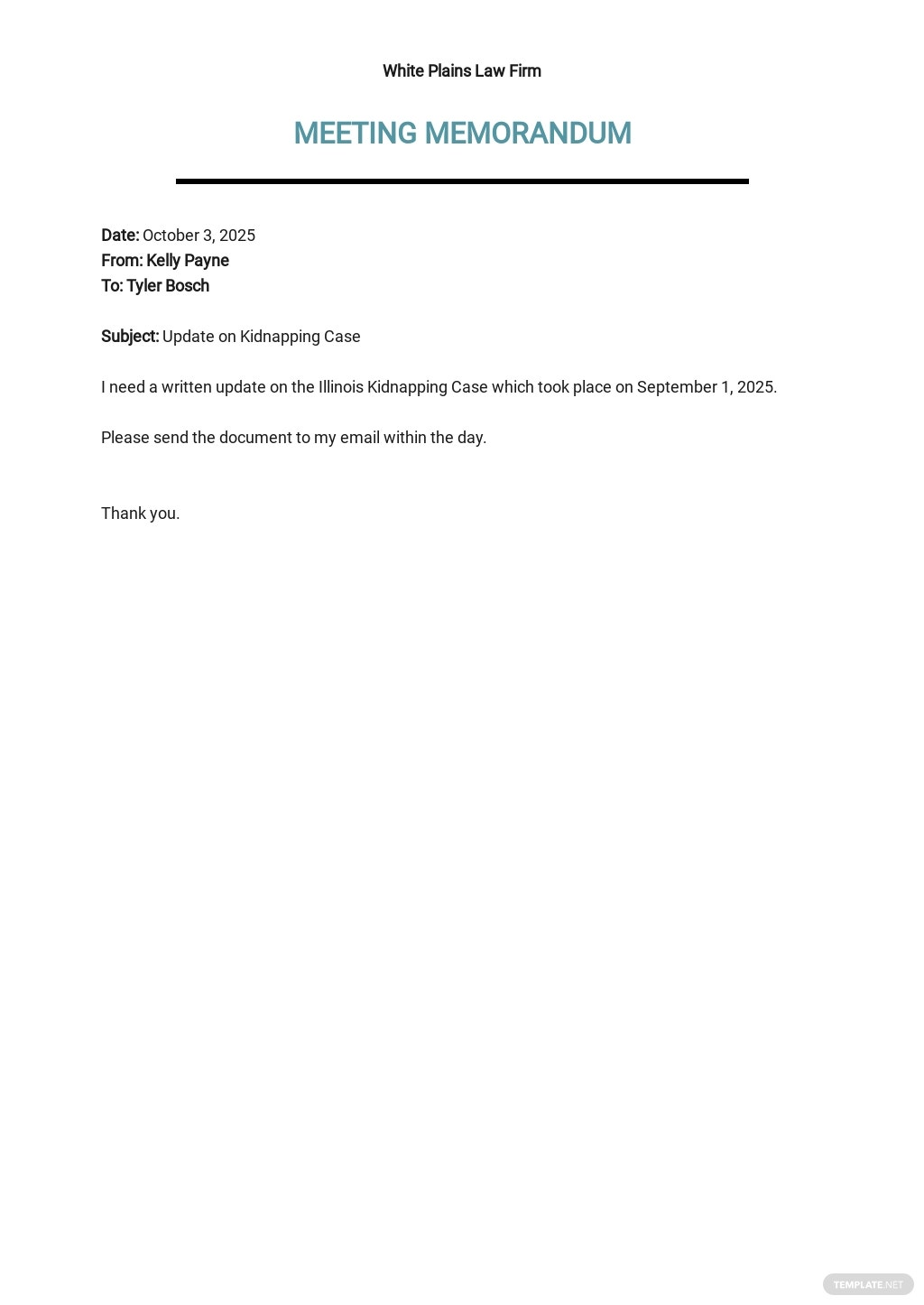 Internal Legal Memo Template