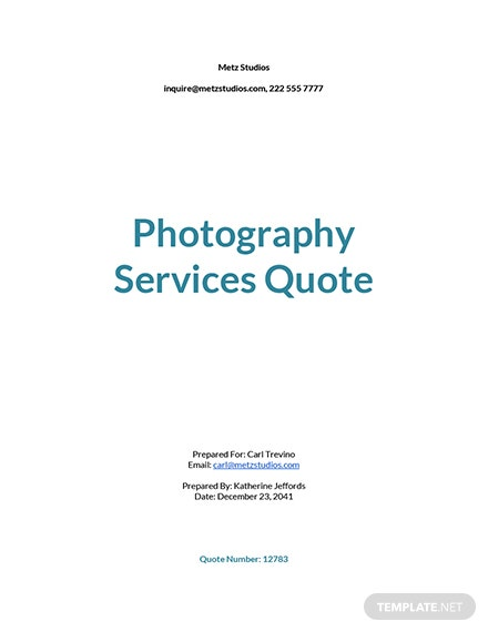 Photography Services Quotation Template