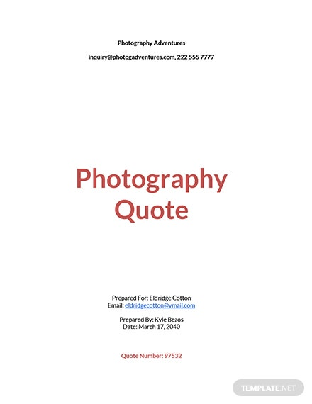 Photography Quotation Sample Template