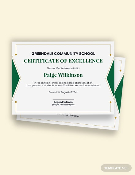 school project certificate Template