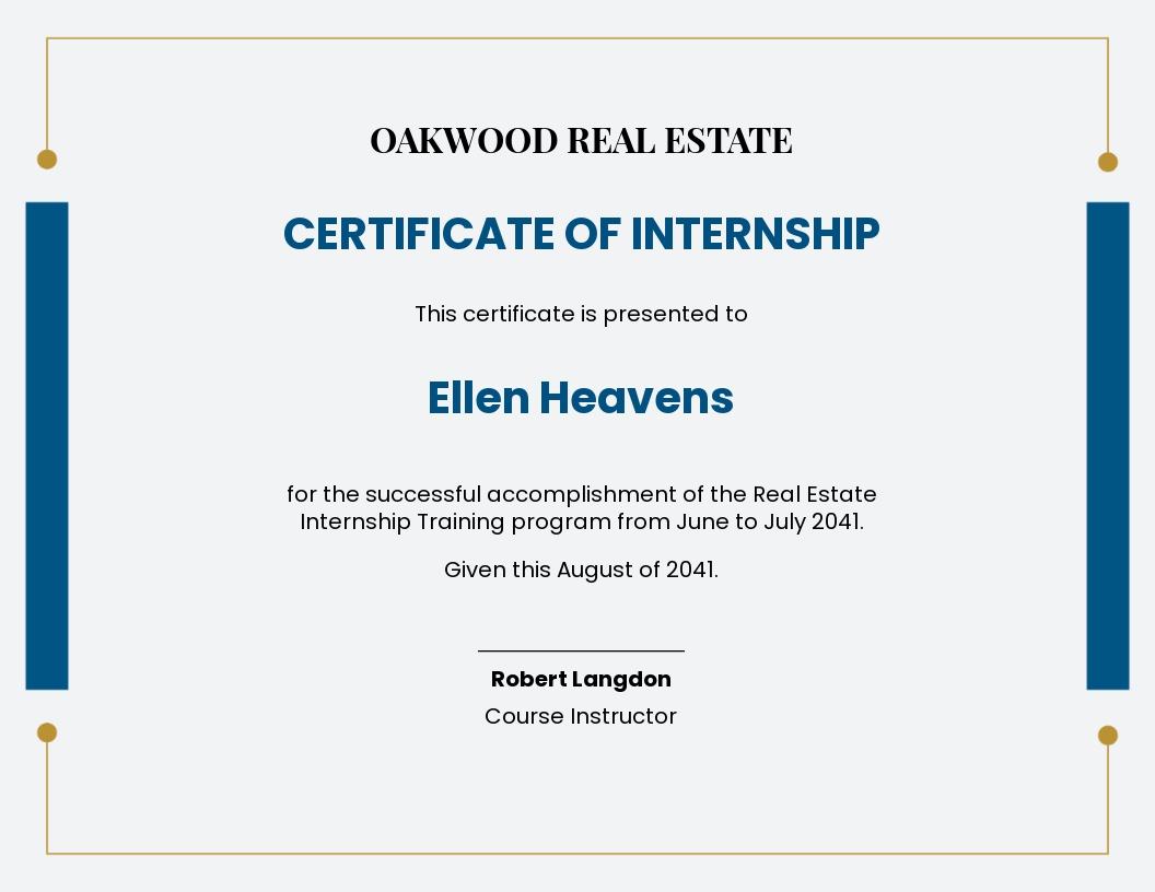 real estate internship certificate Template