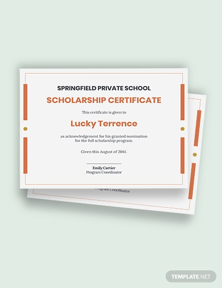 Free Scholarship Certificate Template