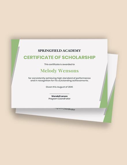 Free Scholarship Award Certificate Template