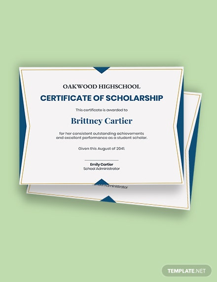 Free Student Scholarship Certificate Template