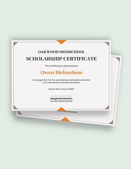 School Scholarship Certificate Template