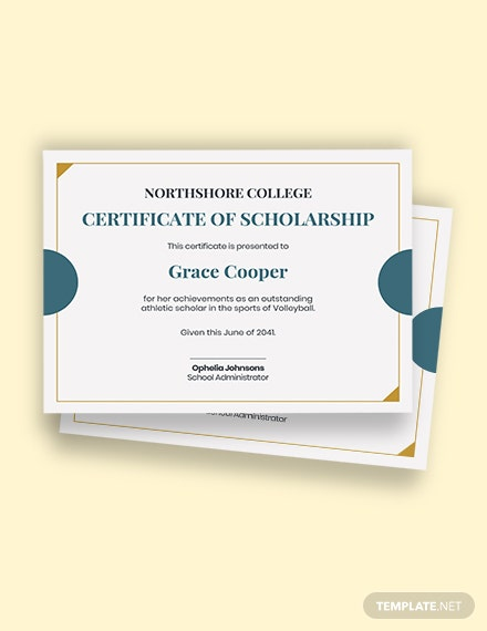 College Scholarship Certificate Template