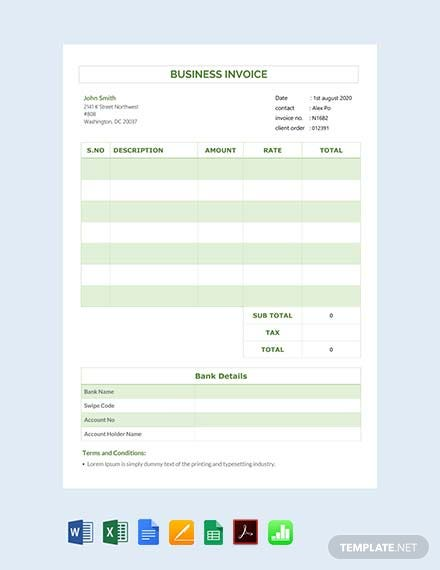 Free Business Invoice Template